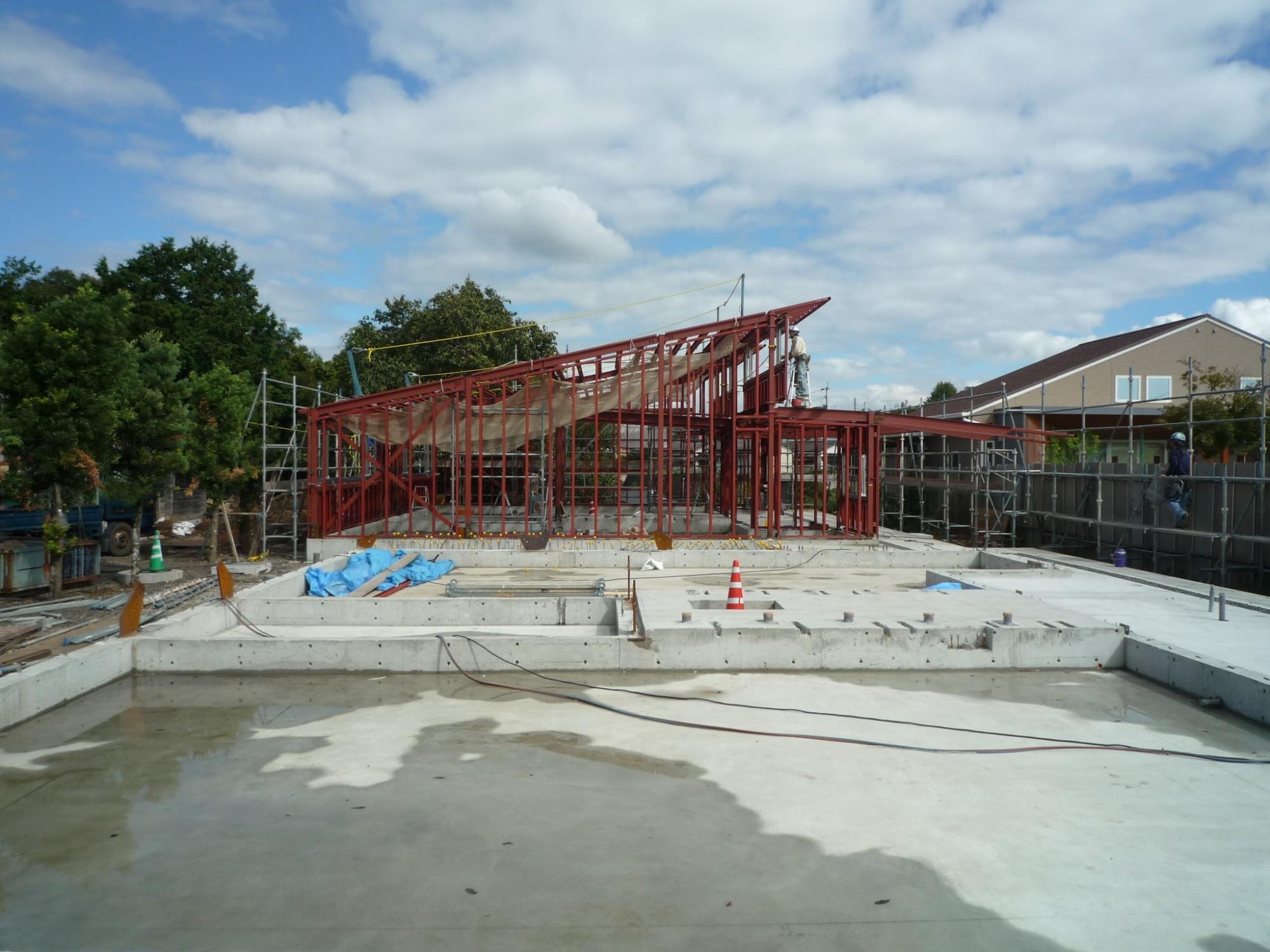 熊本の幼稚園:鉄骨建て方終了