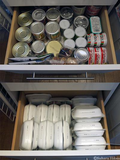 食品備蓄収納法。Iさん宅の場合