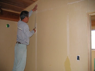 ティンバーフレームの漆喰工事 その1