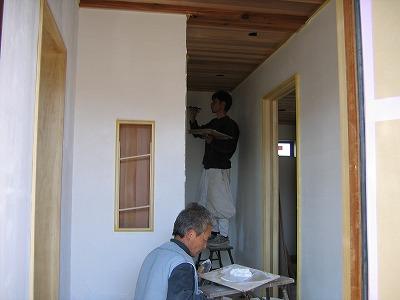 ティンバーフレームの漆喰工事 その2
