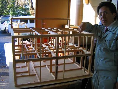 ティンバーフレーム住宅の構造模型