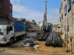 板橋区幸町/地盤改良・鋼管杭の打込みを致しました。