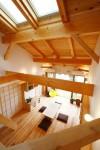 浦和の家 居間、ロフトからの見下ろし
