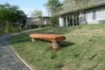 「木のベンチ」 老人ホームのヒーリングガーデン