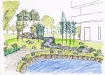 「池と小川のデザイン画」 老人ホームのヒーリングガーデン