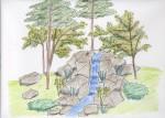 「滝のデザイン」 老人ホームのヒーリングデザイン
