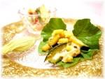 美味しく見せる盛り付け方~野菜の葉を飾りに~