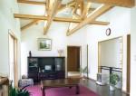 平塚の家 2階リビング/天井は洋トラス表し